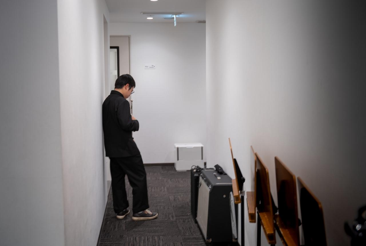 実技模試で音出しを待つトランペットの参加者