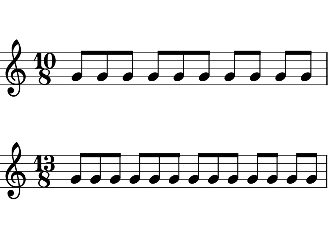 8分の10拍子と13拍子の楽譜