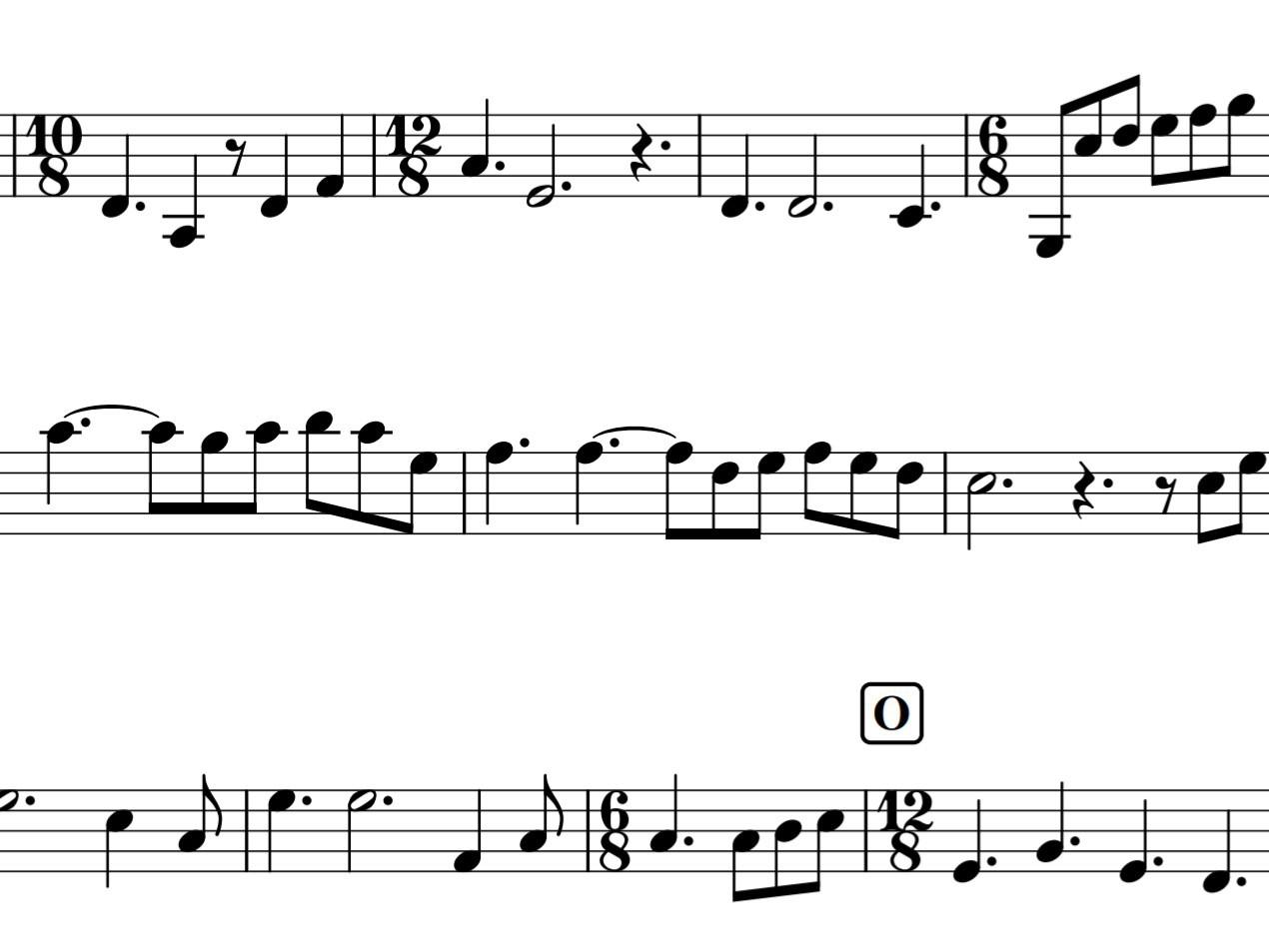 変拍子の楽譜