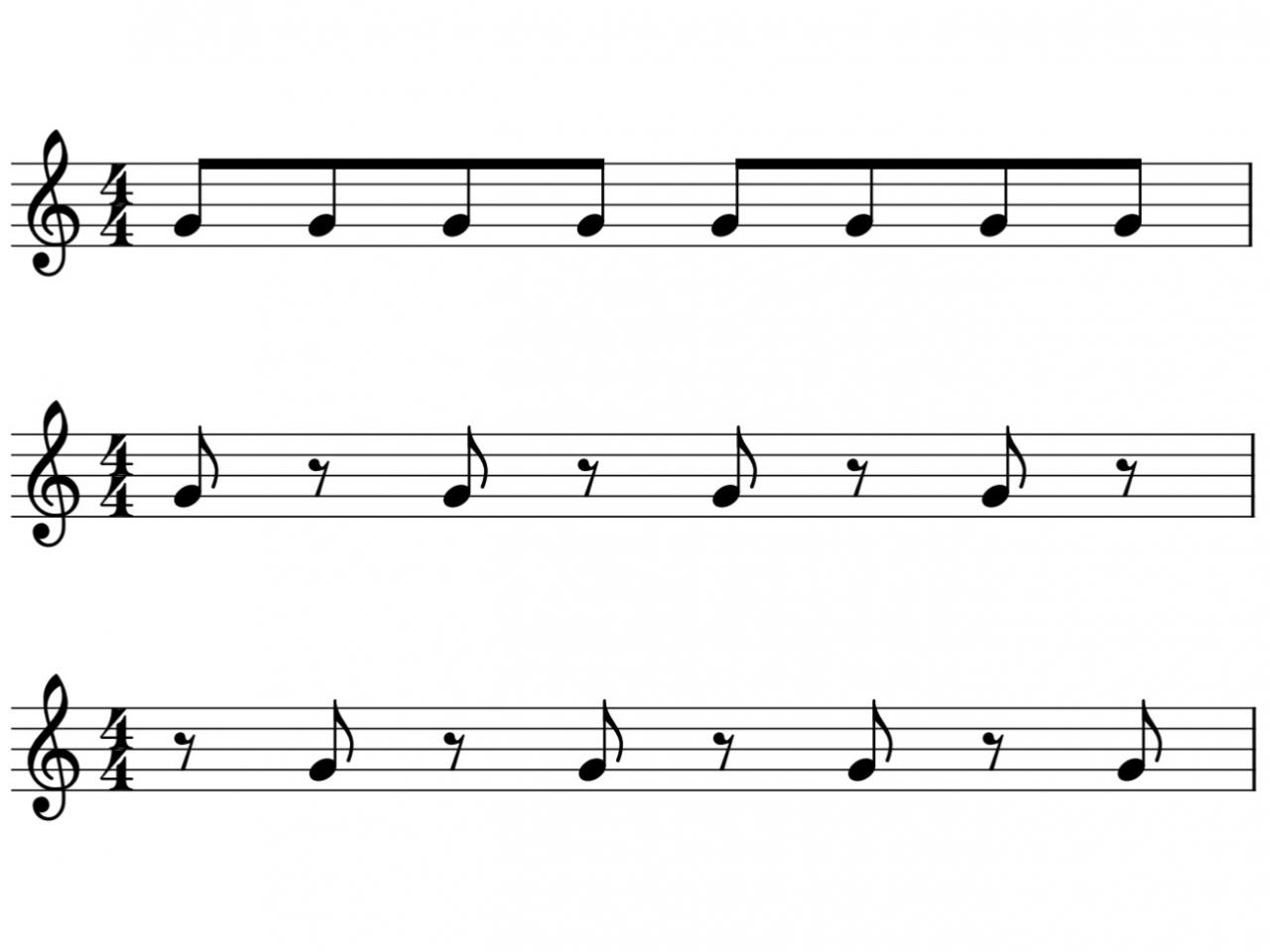 音符と休符を使ったリズムの譜例