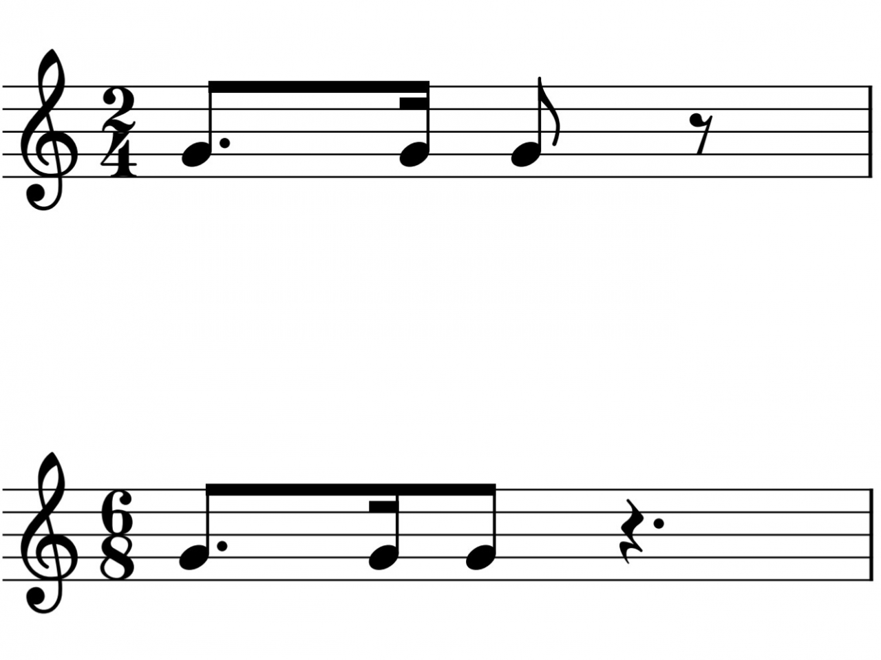 4分の2拍子と8分の6拍子の譜例