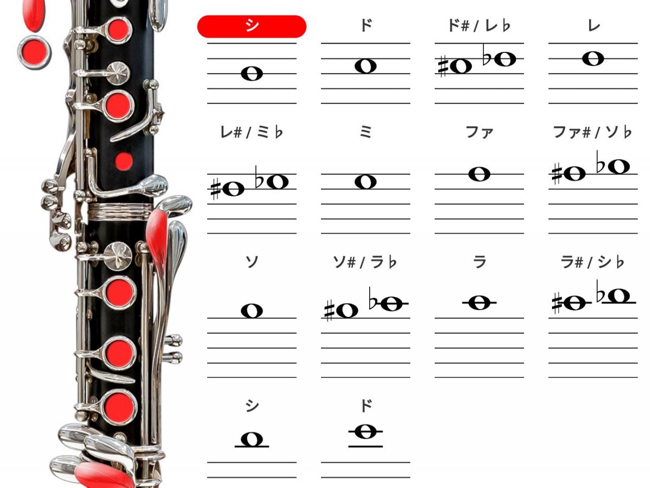 チューニングで使用するシの音を示した運指表