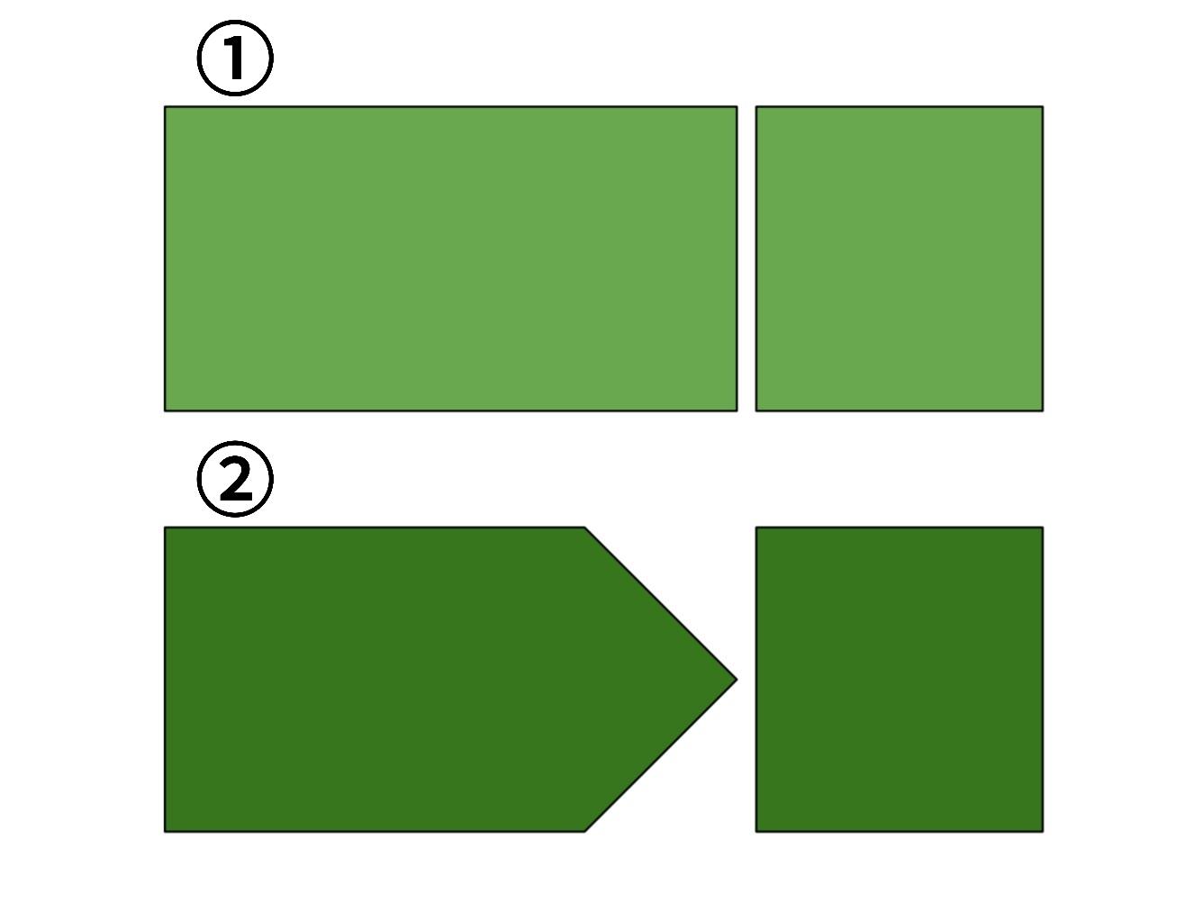 8分の6拍子の四分音符の吹き方のイメージ図