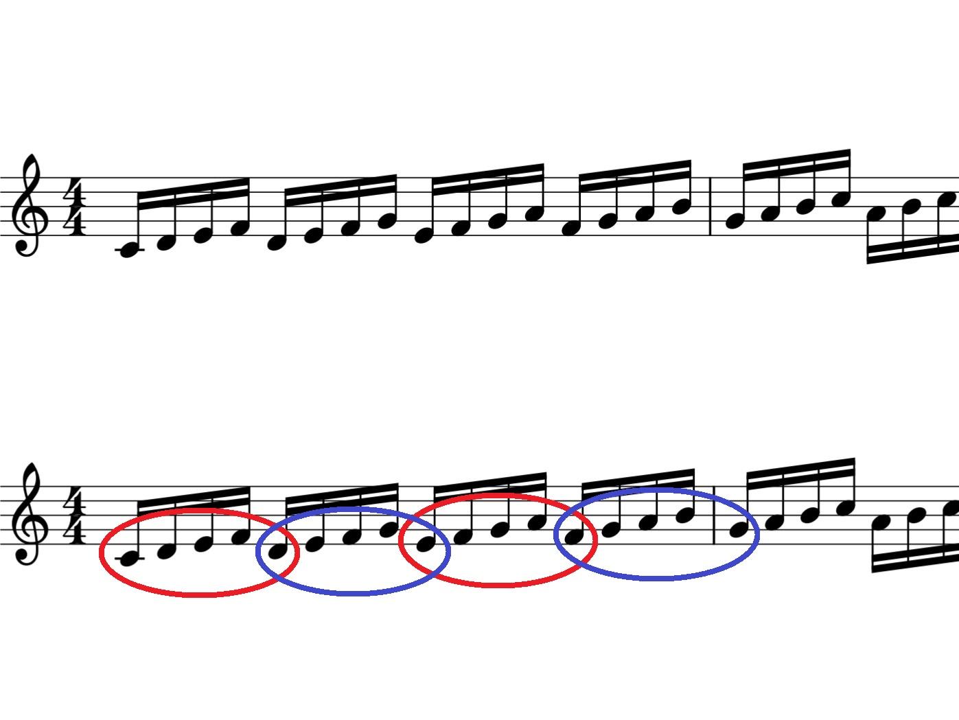 連符の練習方法の譜例