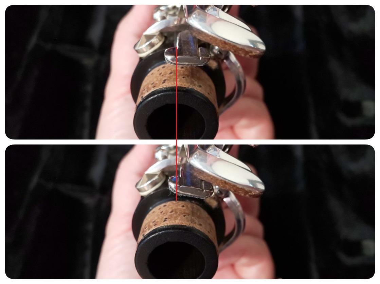 上管のリングを押さえた時と押さえてない時のずれの比較